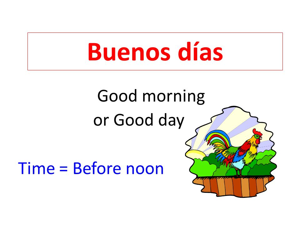 Good morning or Good day Time = Before noon