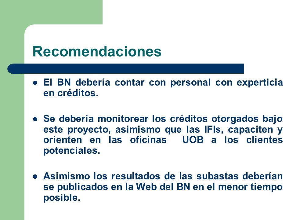 RecomendacionesEl BN debería contar con personal con experticia en créditos.