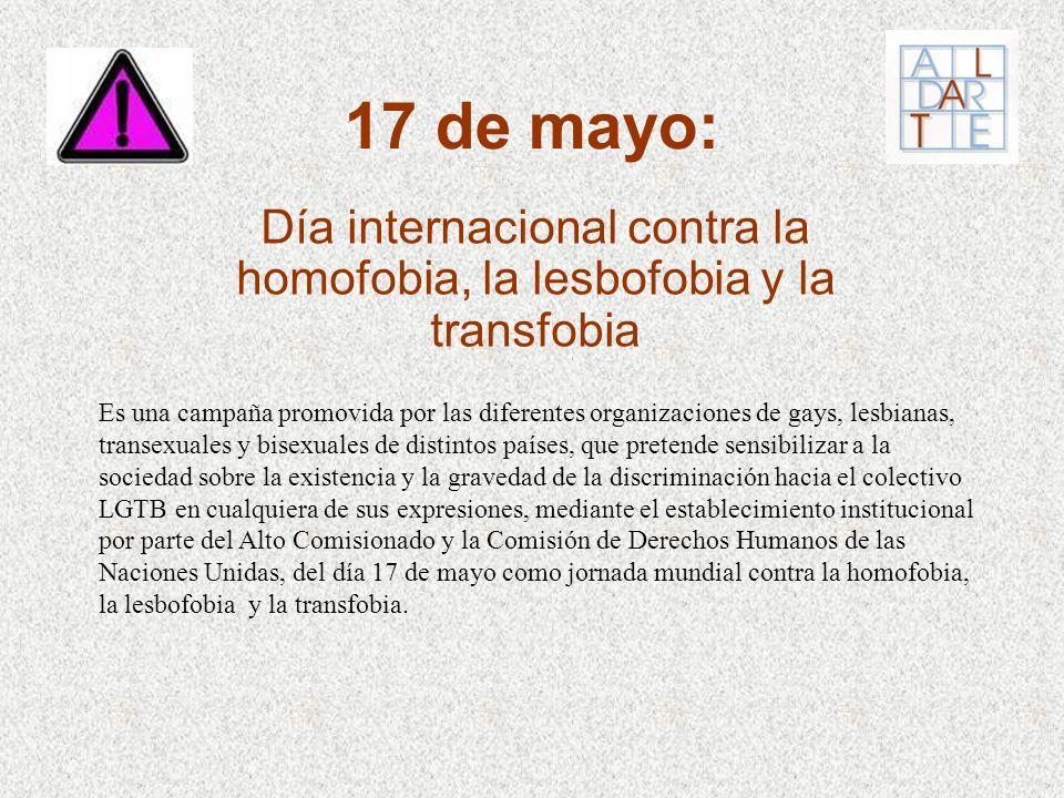 Día internacional contra la homofobia, la lesbofobia y la transfobia