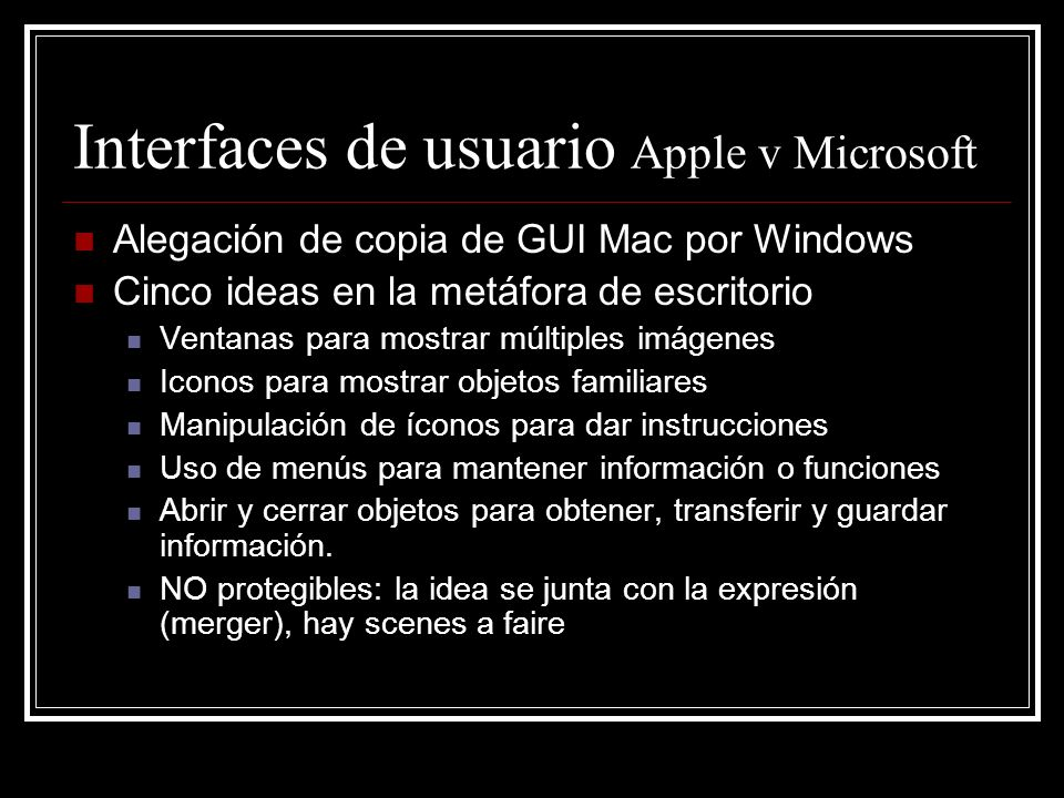 Interfaces de usuario Apple v Microsoft