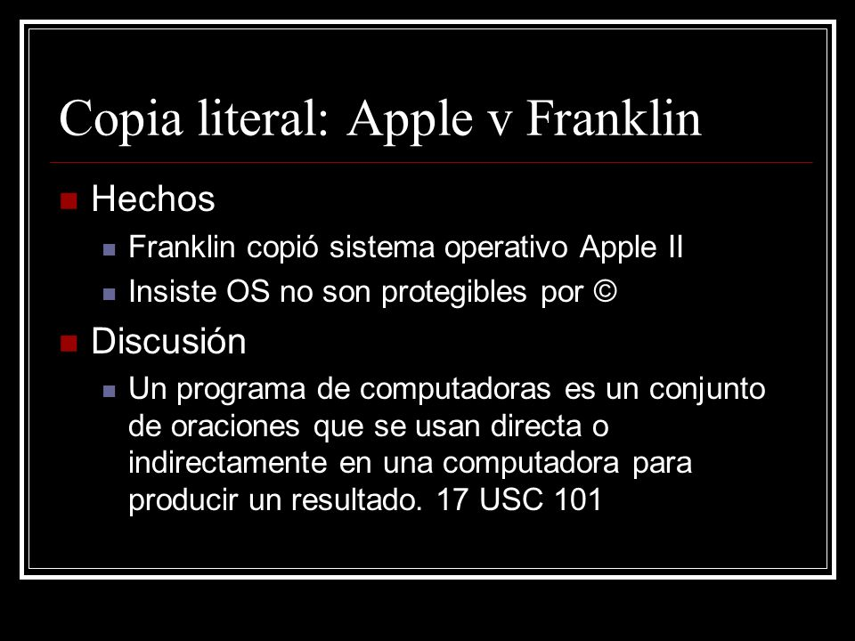 Copia literal: Apple v Franklin