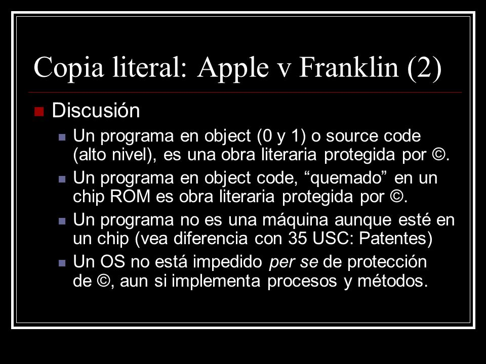 Copia literal: Apple v Franklin (2)