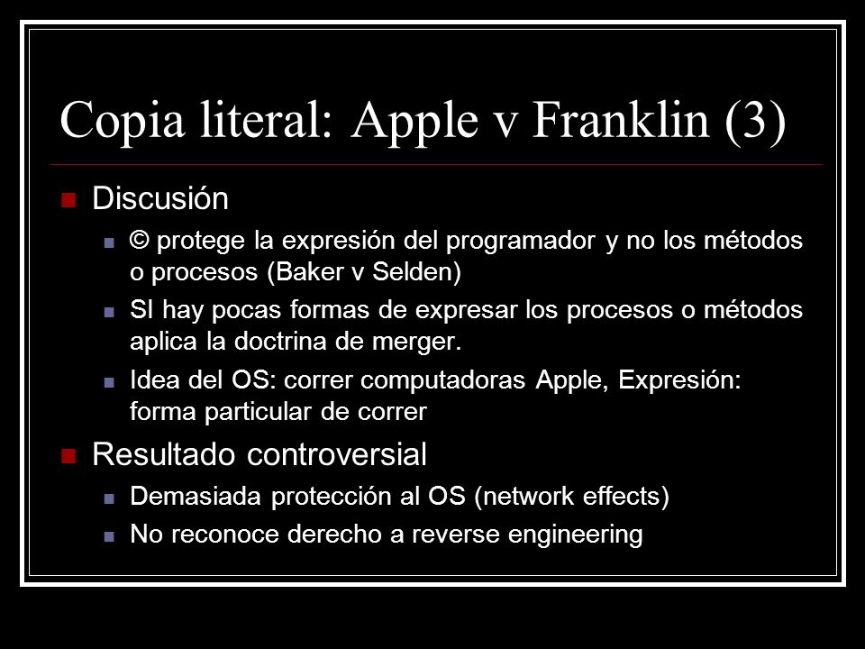 Copia literal: Apple v Franklin (3)