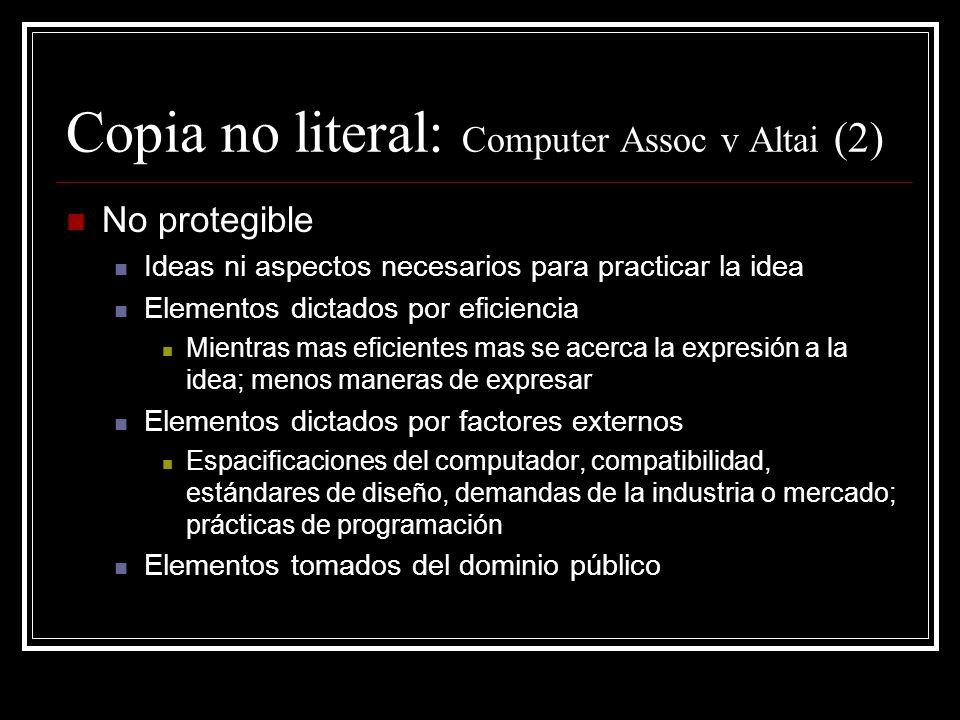 Copia no literal: Computer Assoc v Altai (2)