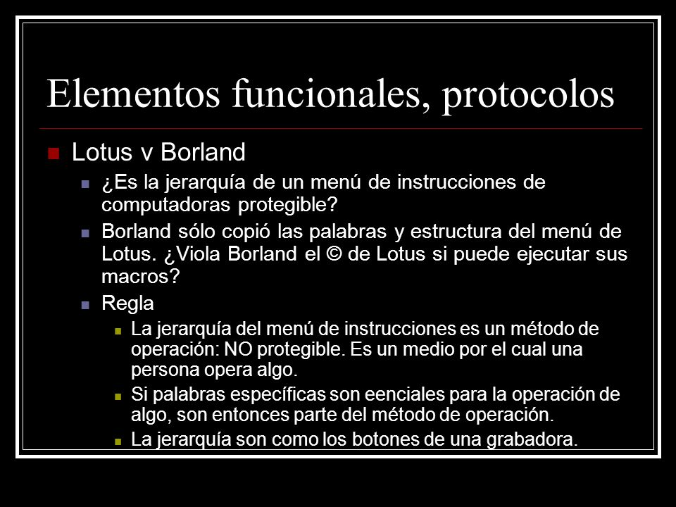 Elementos funcionales, protocolos