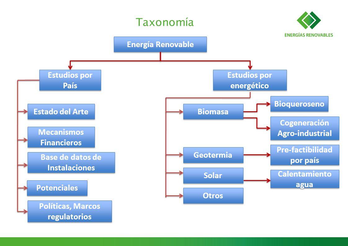 Taxonomía Energía Renovable Estudios por País Estudios por energético