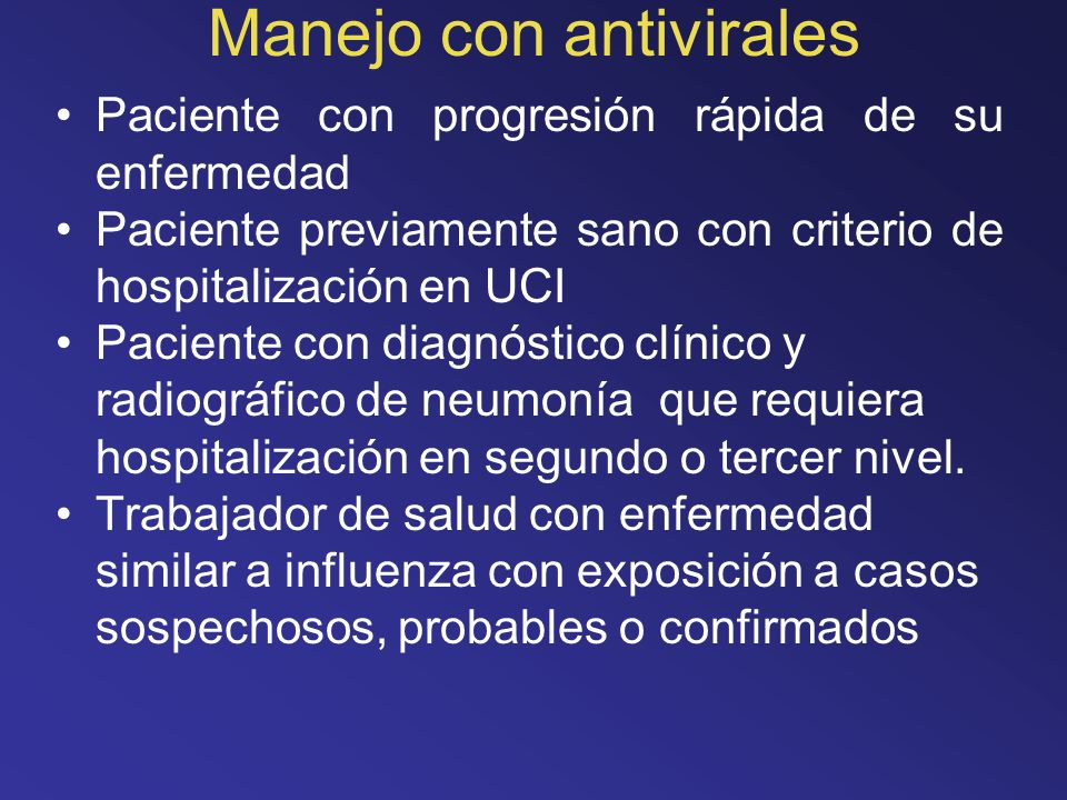 Manejo con antivirales