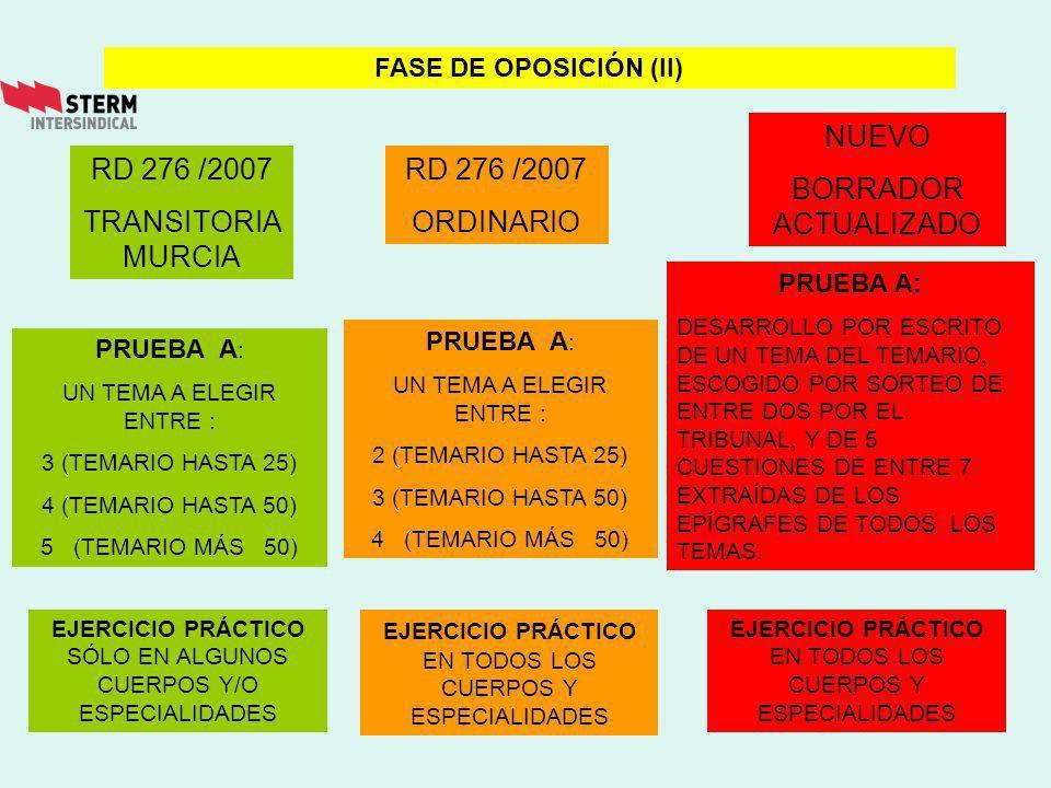 NUEVO BORRADOR ACTUALIZADO RD 276 /2007 TRANSITORIA MURCIA