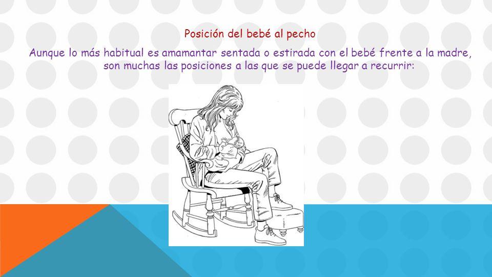 Posición del bebé al pecho Aunque lo más habitual es amamantar sentada o estirada con el bebé frente a la madre, son muchas las posiciones a las que se puede llegar a recurrir: