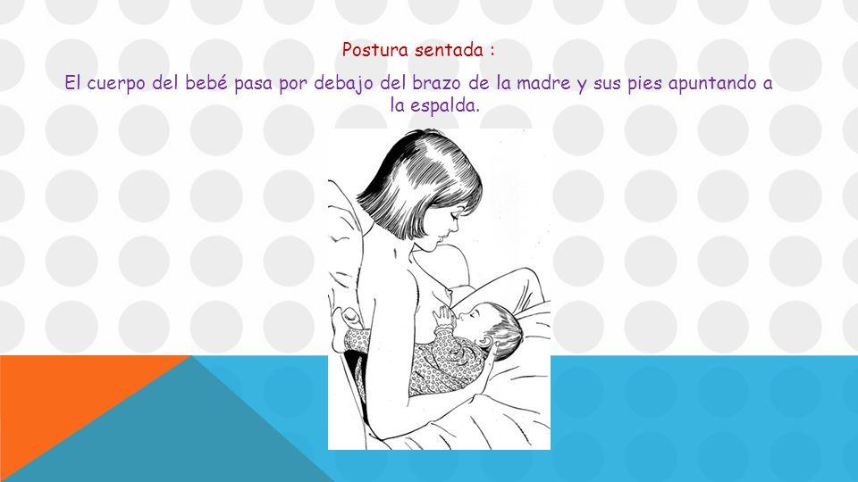 Postura sentada : El cuerpo del bebé pasa por debajo del brazo de la madre y sus pies apuntando a la espalda.