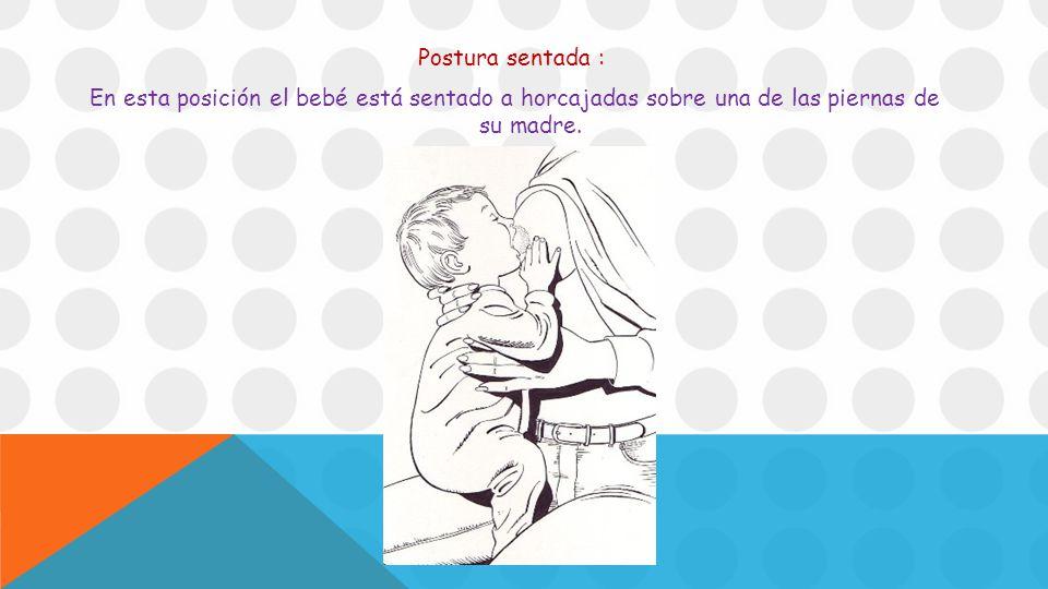 Postura sentada : En esta posición el bebé está sentado a horcajadas sobre una de las piernas de su madre.