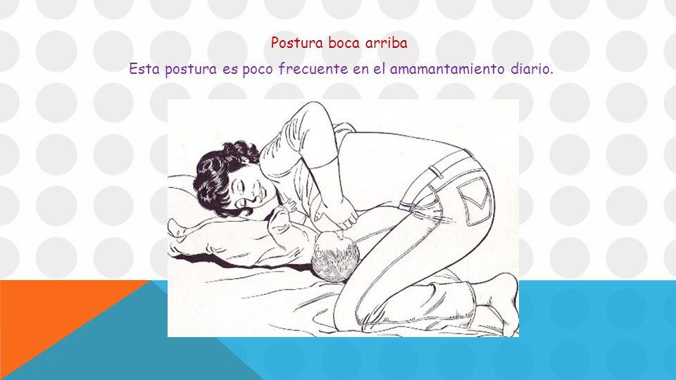 Postura boca arriba Esta postura es poco frecuente en el amamantamiento diario.