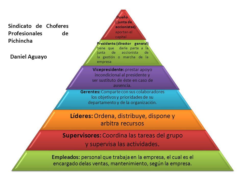 Líderes: Ordena, distribuye, dispone y arbitra recursos