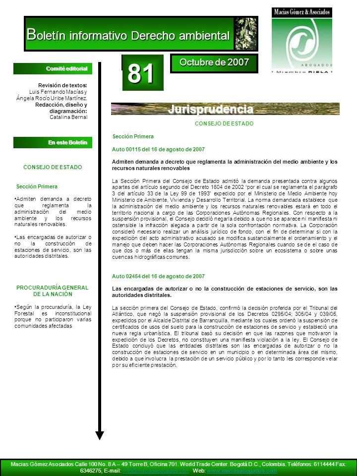 81 Boletín informativo Derecho ambiental Jurisprudencia