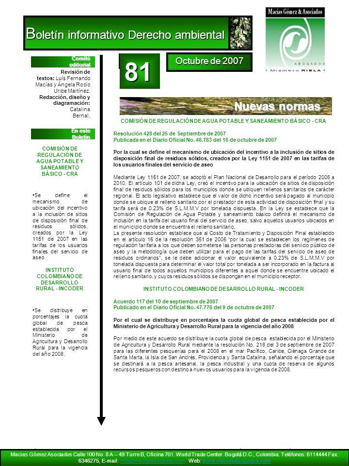 81 Boletín informativo Derecho ambiental Nuevas normas Octubre de 2007