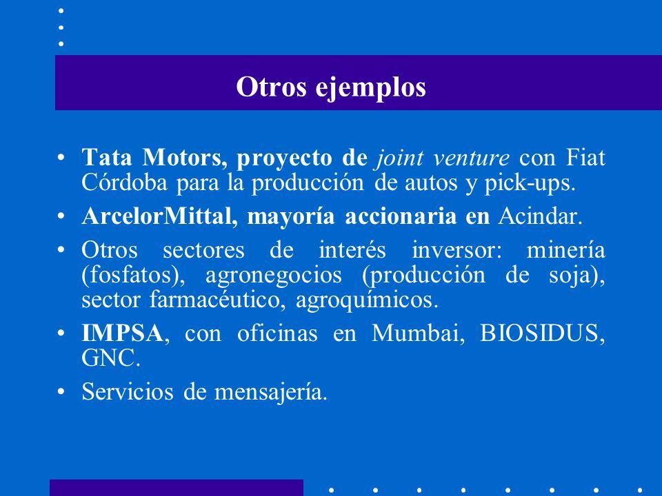 Otros ejemplos Tata Motors, proyecto de joint venture con Fiat Córdoba para la producción de autos y pick-ups.