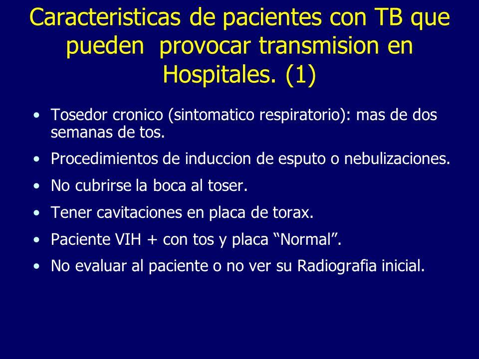 Caracteristicas de pacientes con TB que pueden provocar transmision en Hospitales. (1)