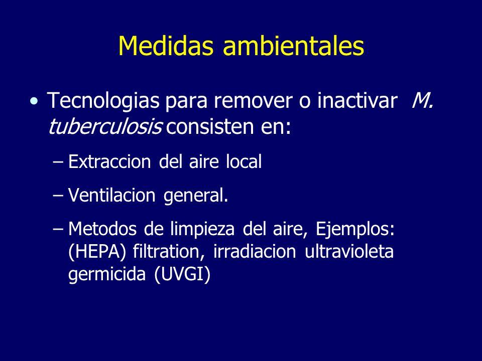 Medidas ambientales Tecnologias para remover o inactivar M. tuberculosis consisten en: Extraccion del aire local.