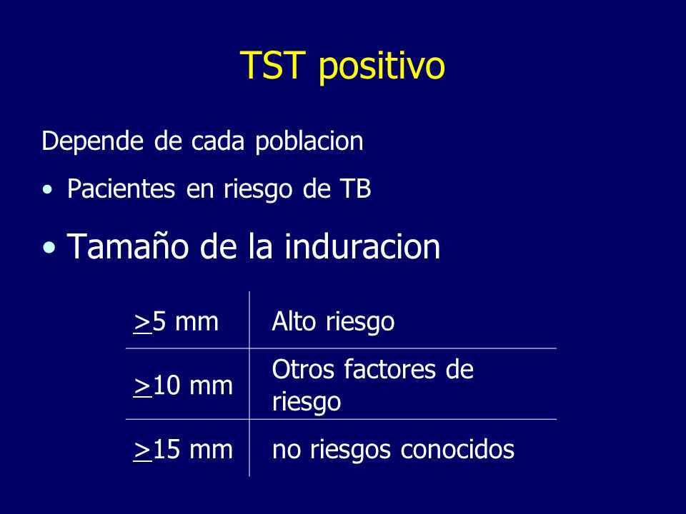 TST positivo Tamaño de la induracion Depende de cada poblacion