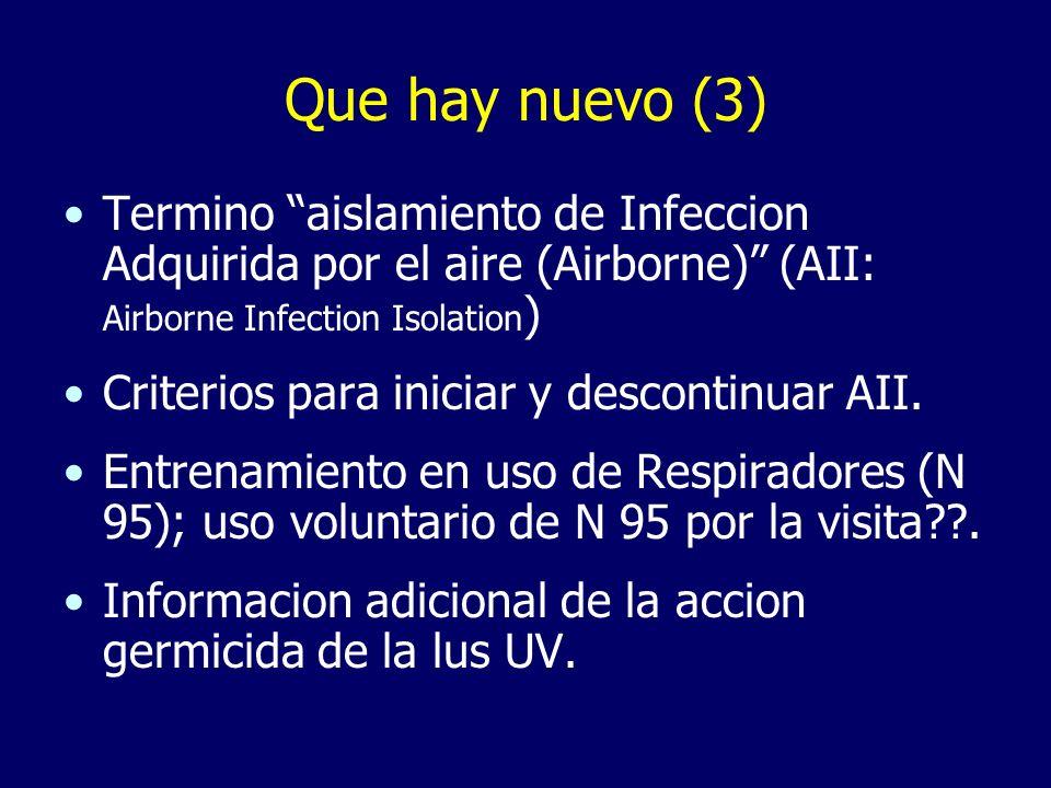 Que hay nuevo (3)Termino aislamiento de Infeccion Adquirida por el aire (Airborne) (AII: Airborne Infection Isolation)
