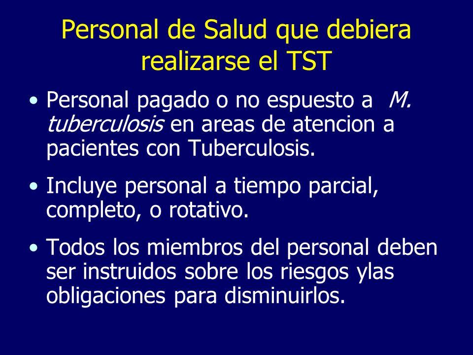 Personal de Salud que debiera realizarse el TST