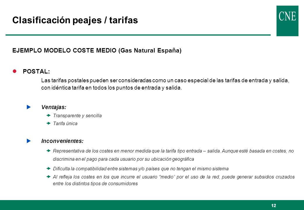 Clasificación peajes / tarifas