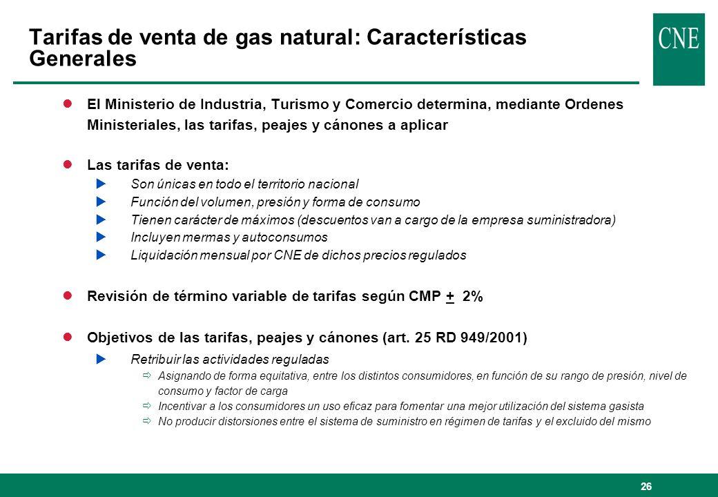 Tarifas de venta de gas natural: Características Generales