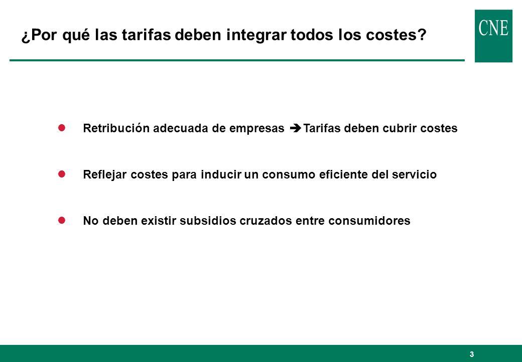 ¿Por qué las tarifas deben integrar todos los costes
