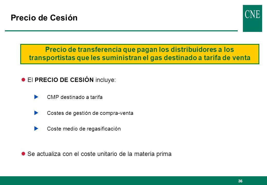 Precio de Cesión Precio de transferencia que pagan los distribuidores a los transportistas que les suministran el gas destinado a tarifa de venta.