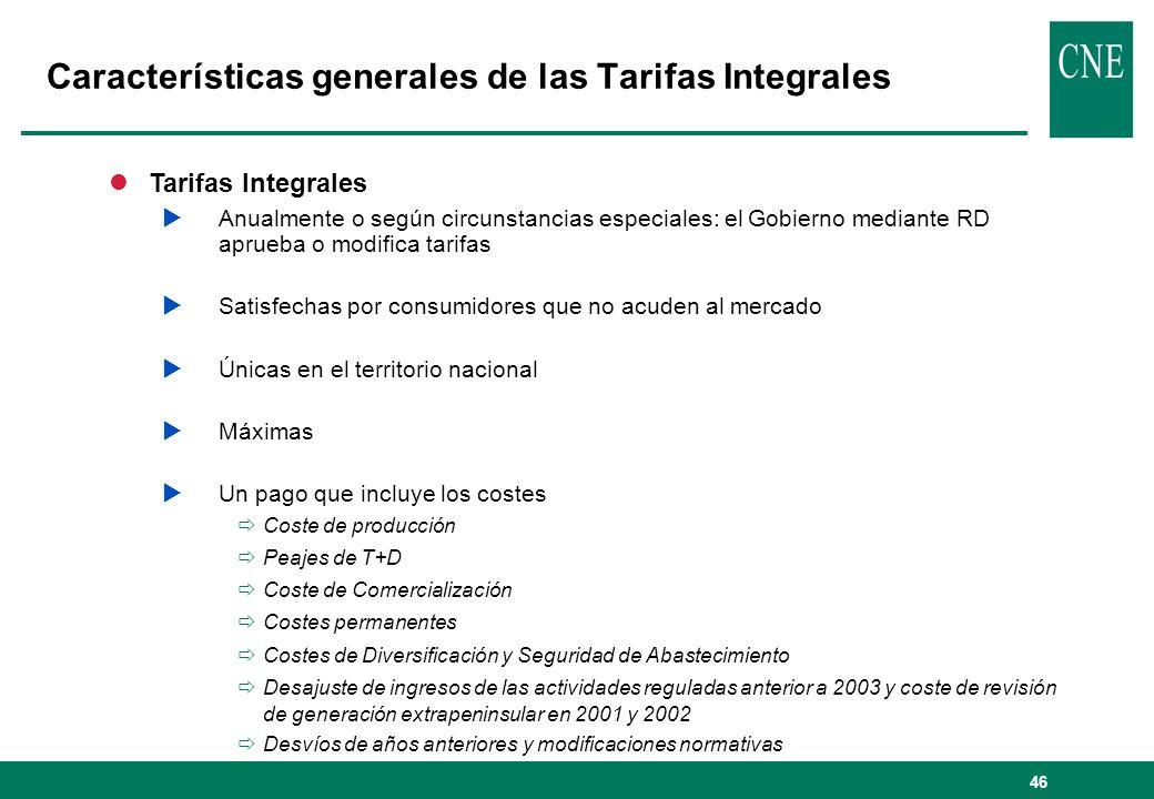 Características generales de las Tarifas Integrales