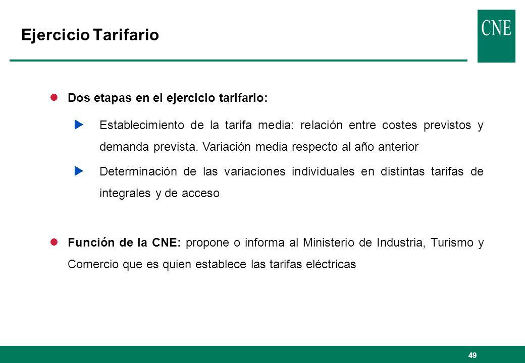 Ejercicio Tarifario Dos etapas en el ejercicio tarifario: