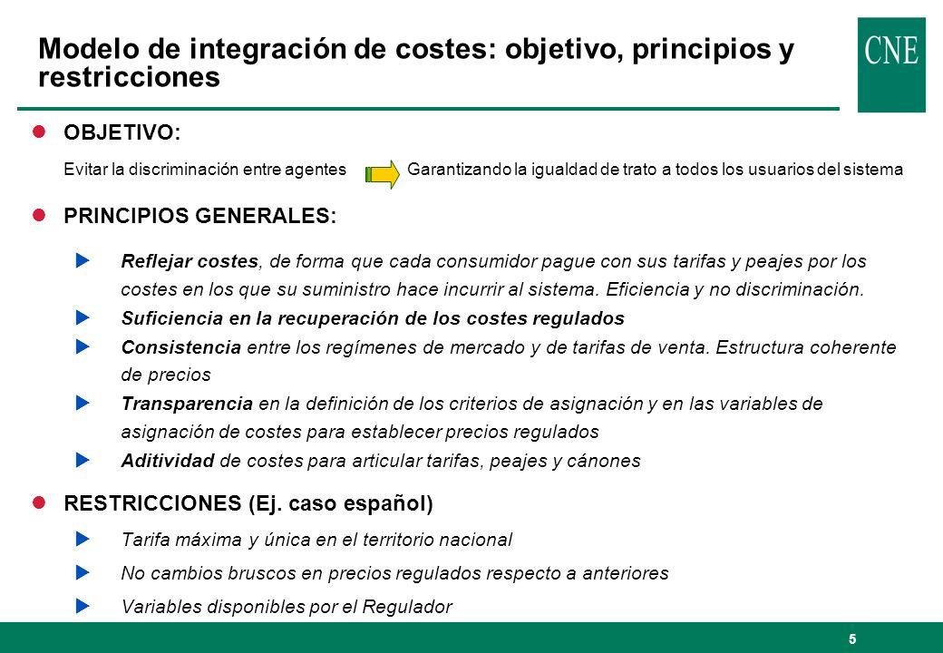 Modelo de integración de costes: objetivo, principios y restricciones