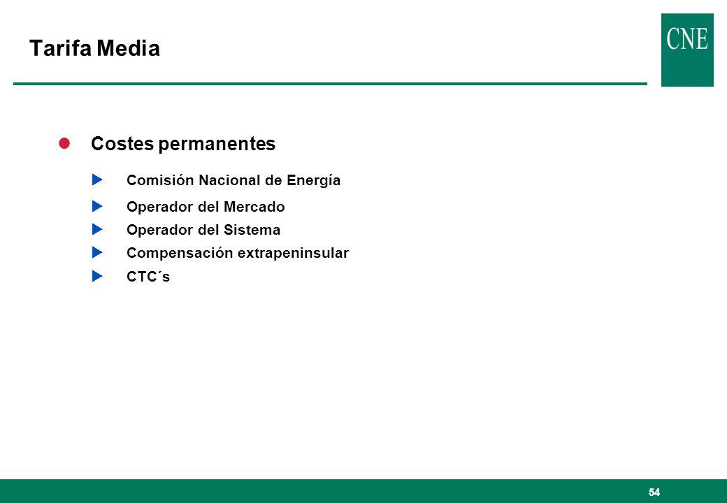 Tarifa Media Costes permanentes Comisión Nacional de Energía