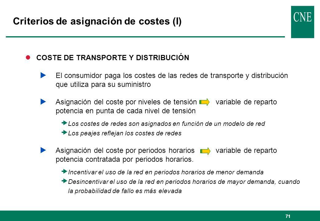 Criterios de asignación de costes (I)