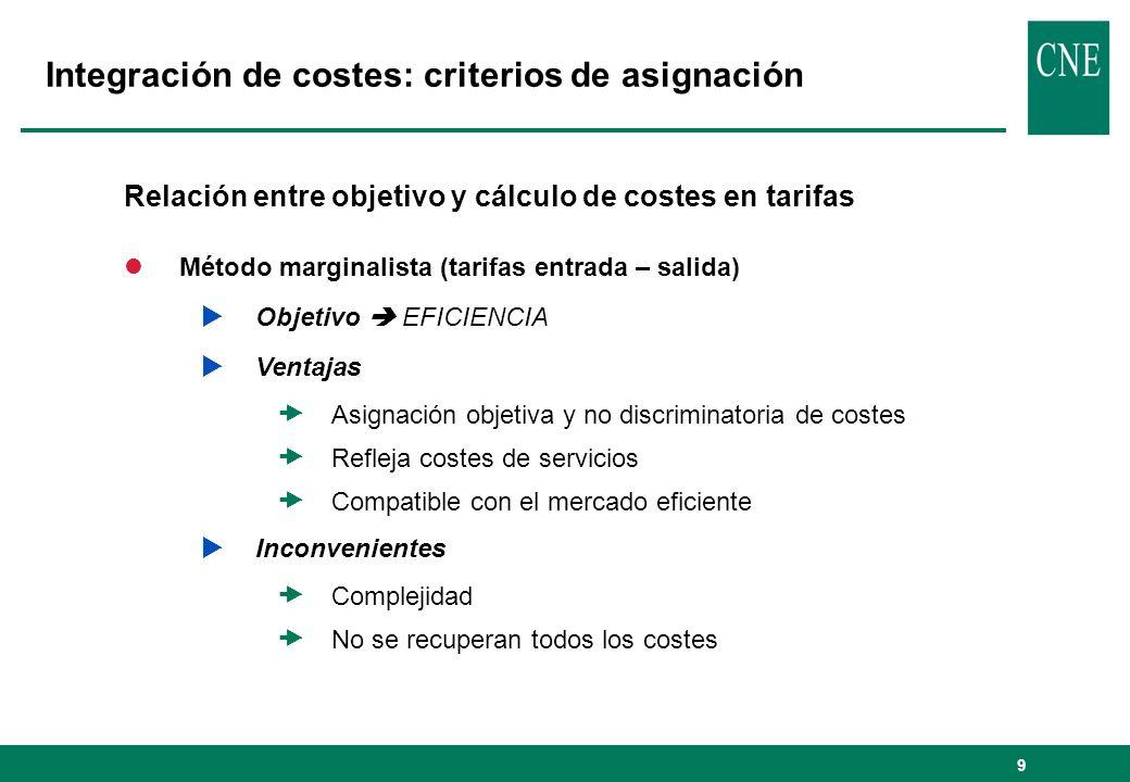 Integración de costes: criterios de asignación