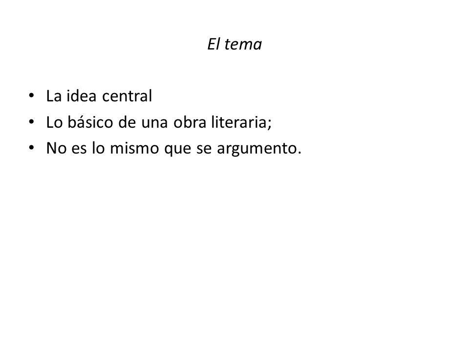 El tema La idea central Lo básico de una obra literaria; No es lo mismo que se argumento.