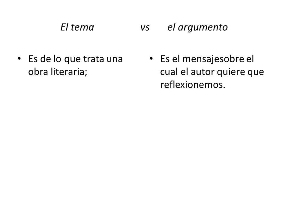 El tema vs el argumento Es de lo que trata una obra literaria;