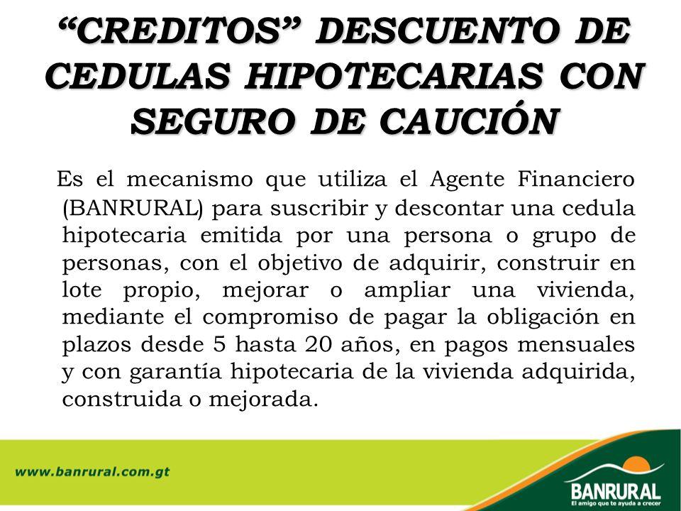 CREDITOS DESCUENTO DE CEDULAS HIPOTECARIAS CON SEGURO DE CAUCIÓN