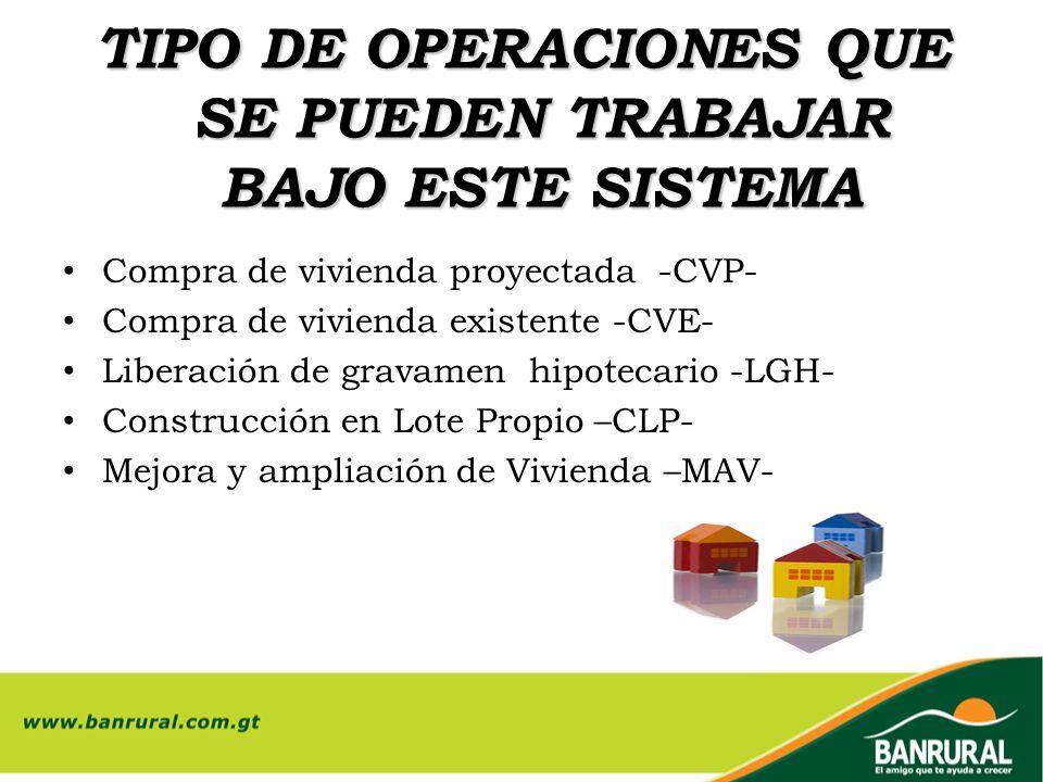 TIPO DE OPERACIONES QUE SE PUEDEN TRABAJAR BAJO ESTE SISTEMA