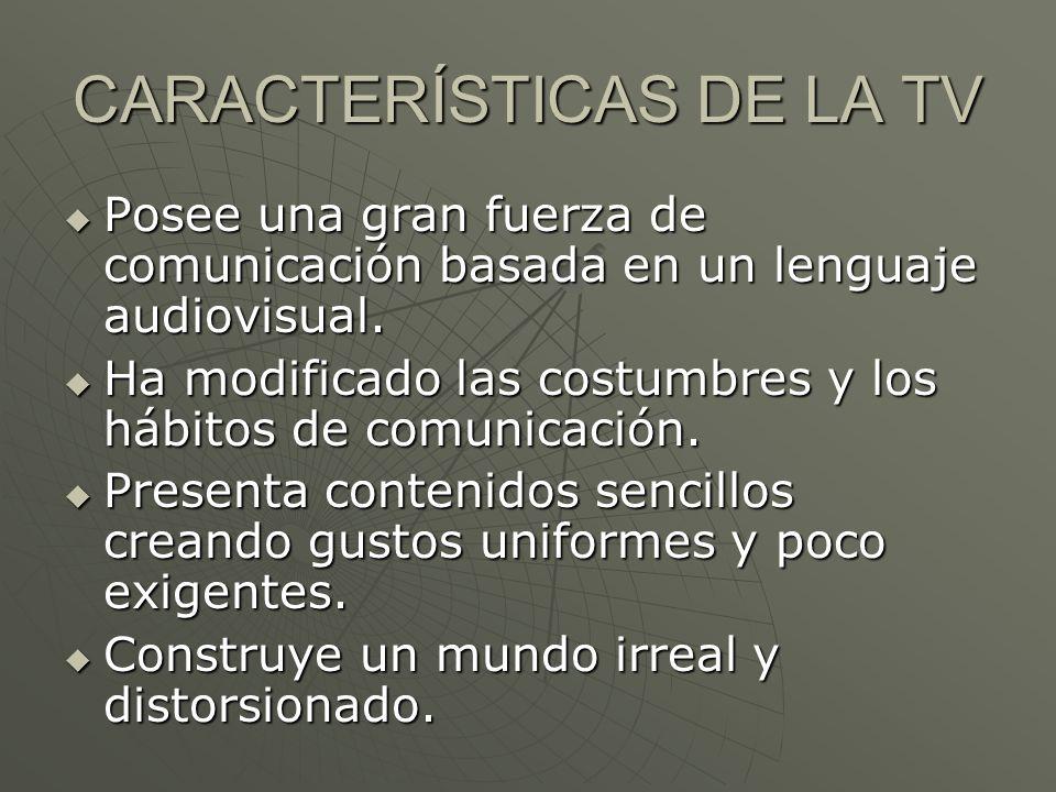 CARACTERÍSTICAS DE LA TV
