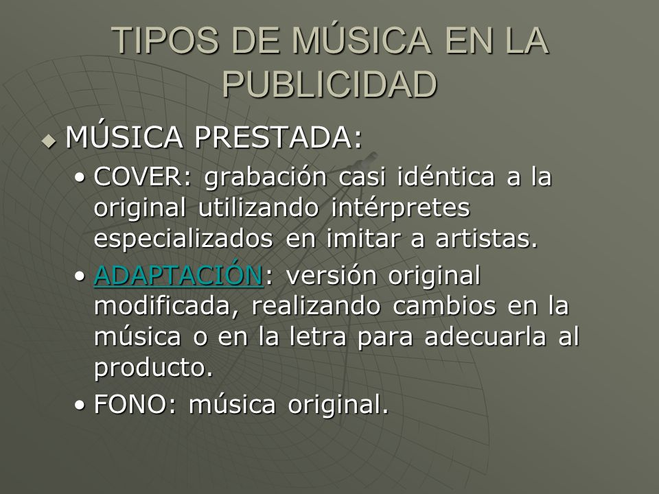 TIPOS DE MÚSICA EN LA PUBLICIDAD
