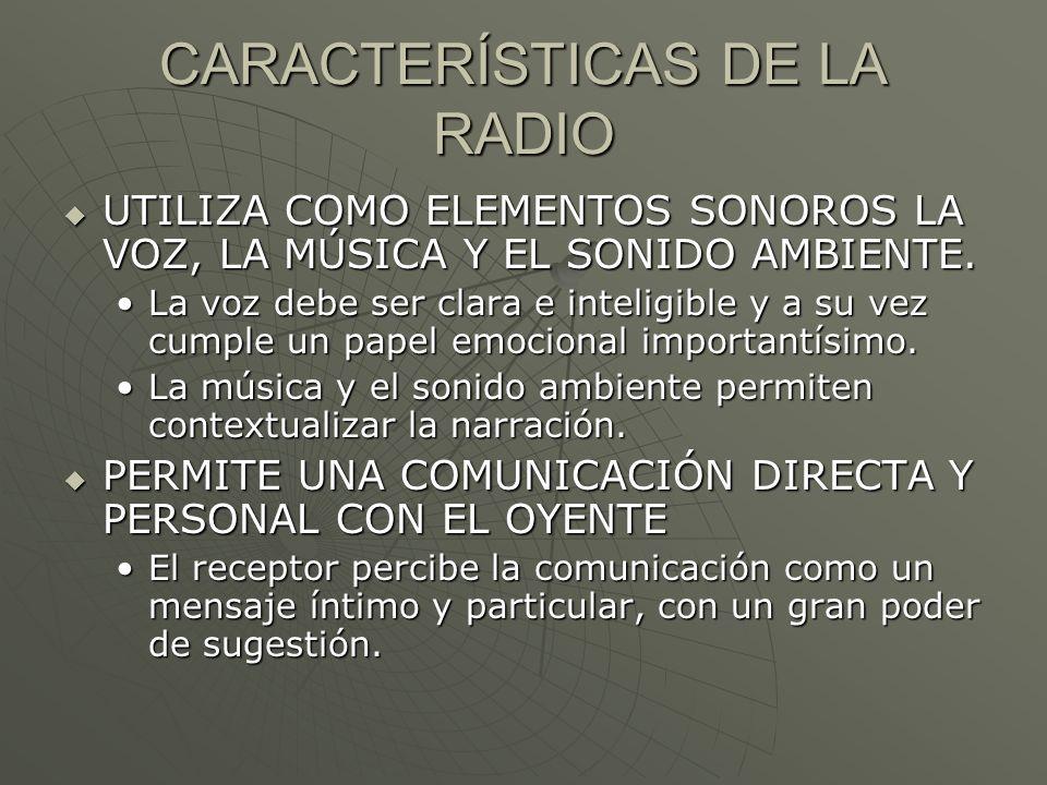 CARACTERÍSTICAS DE LA RADIO