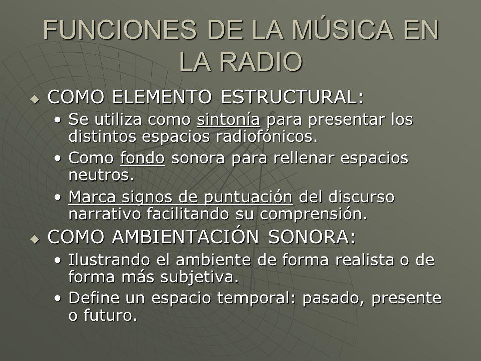 FUNCIONES DE LA MÚSICA EN LA RADIO