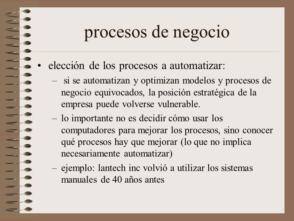 procesos de negocio elección de los procesos a automatizar: