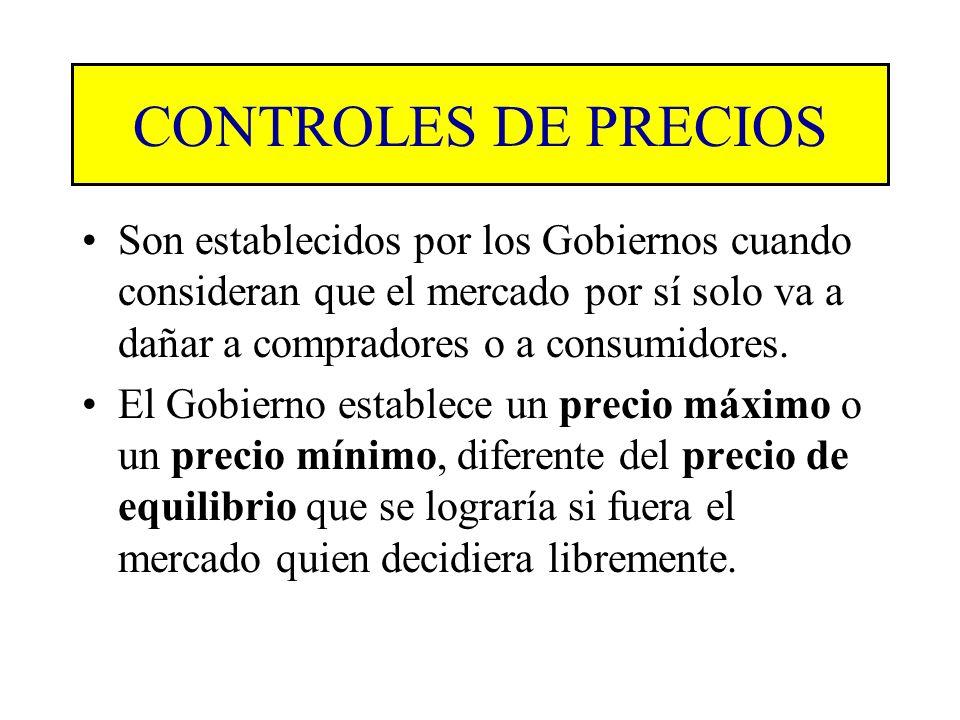 CONTROLES DE PRECIOS Son establecidos por los Gobiernos cuando consideran que el mercado por sí solo va a dañar a compradores o a consumidores.
