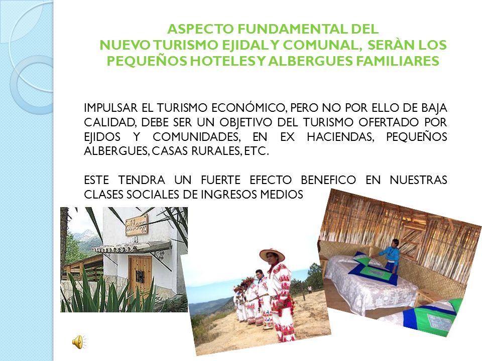 ASPECTO FUNDAMENTAL DEL NUEVO TURISMO EJIDAL Y COMUNAL, SERÀN LOS PEQUEÑOS HOTELES Y ALBERGUES FAMILIARES