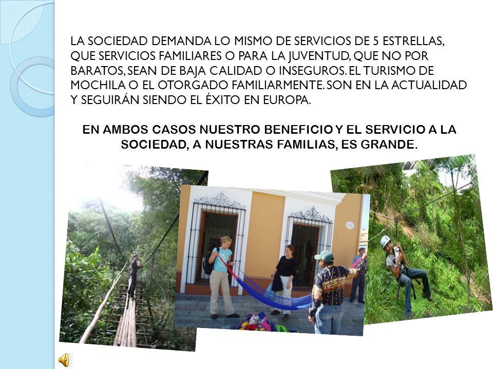 LA SOCIEDAD DEMANDA LO MISMO DE SERVICIOS DE 5 ESTRELLAS, QUE SERVICIOS FAMILIARES O PARA LA JUVENTUD, QUE NO POR BARATOS, SEAN DE BAJA CALIDAD O INSEGUROS. EL TURISMO DE MOCHILA O EL OTORGADO FAMILIARMENTE. SON EN LA ACTUALIDAD Y SEGUIRÁN SIENDO EL ÉXITO EN EUROPA.