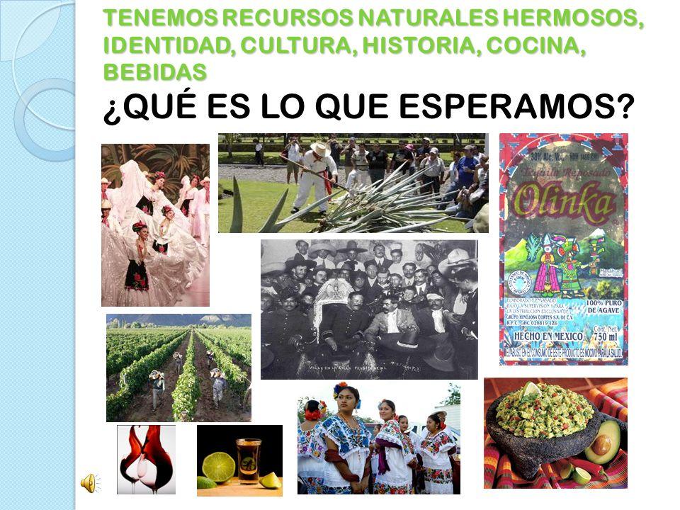 TENEMOS RECURSOS NATURALES HERMOSOS, IDENTIDAD, CULTURA, HISTORIA, COCINA, BEBIDAS ¿QUÉ ES LO QUE ESPERAMOS