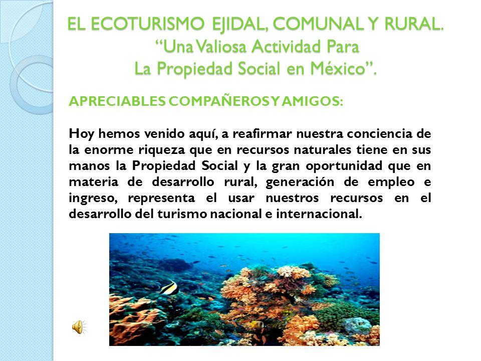 EL ECOTURISMO EJIDAL, COMUNAL Y RURAL