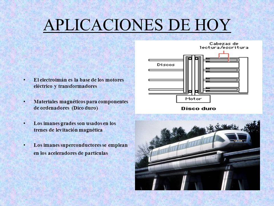 APLICACIONES DE HOY El electroimán es la base de los motores eléctrico y transformadores.